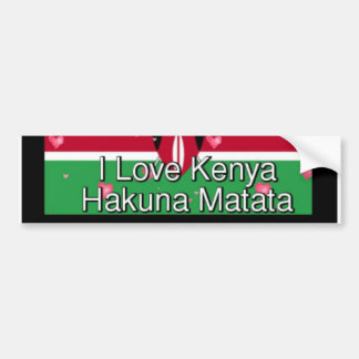 I love Kenya Hakuna Matata cool Flag colors Bumper Sticker