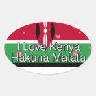 I Love! Kenya Hakuna Matata Oval Sticker