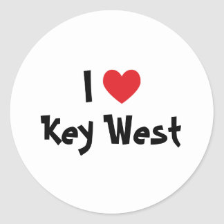 I Love Key West Florida Classic Round Sticker