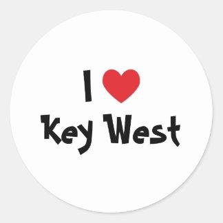 I Love Key West Florida Round Sticker