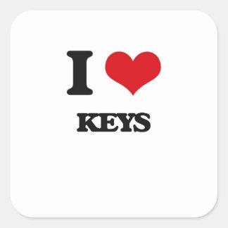 I Love Keys Square Sticker