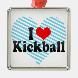 I Love Kickball Silver-Colored Square Decoration