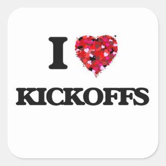 I Love Kickoffs Square Sticker