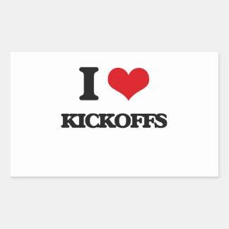 I Love Kickoffs Rectangle Sticker