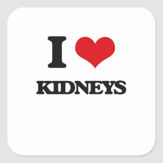 I Love Kidneys Square Sticker