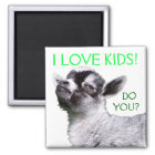 I LOVE KIDS DO YOU? Baby Goat Square Magnet