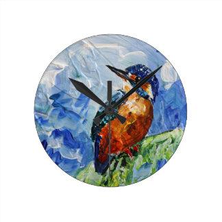 I love Kigfishers Round Clock