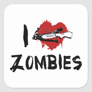 I Love Killing Zombies Square Sticker