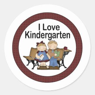 I Love Kindergarten Classic Round Sticker