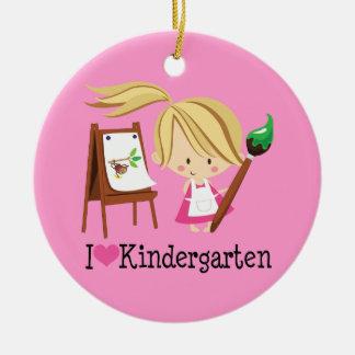 I Love Kindergarten Teacher or Student Gift Round Ceramic Decoration