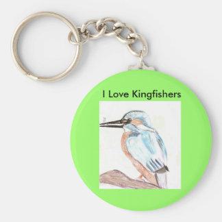 I Love Kingfishers Key Ring