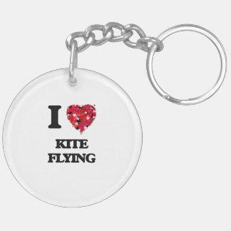 I love Kite Flying Double-Sided Round Acrylic Key Ring