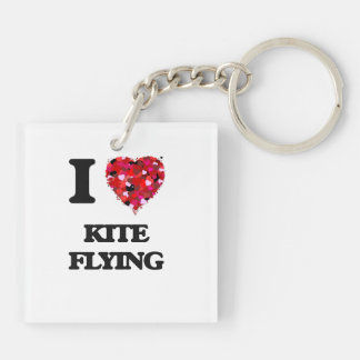 I love Kite Flying Double-Sided Square Acrylic Key Ring