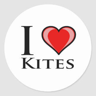 I Love Kites Classic Round Sticker