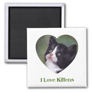 I Love Kittens: art in oil pastel: Heart Shape Refrigerator Magnet