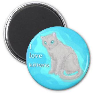 I Love Kittens 6 Cm Round Magnet