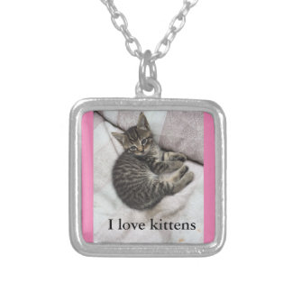 I Love Kittens Silver and Pink Necklace