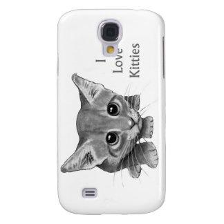 I Love Kitties: Cute Pencil Drawing: Big-Eyed Cat Galaxy S4 Case