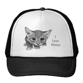 I Love Kitties: Cute Pencil Drawing: Big-Eyed Cat Trucker Hat