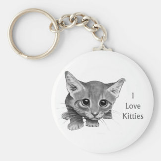 I Love Kitties: Cute Pencil Drawing: Big-Eyed Cat Basic Round Button Key Ring
