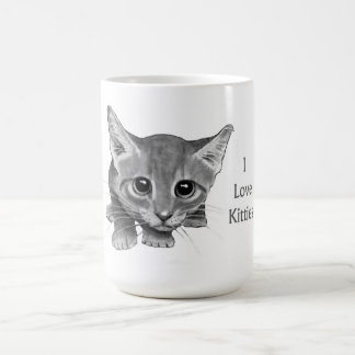 I Love Kitties: Cute Pencil Drawing: Big-Eyed Cat Mugs