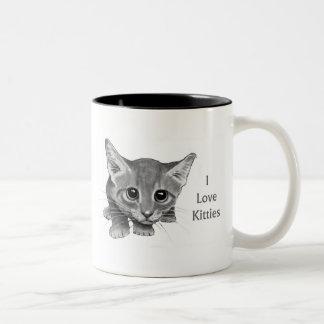 I Love Kitties: Cute Pencil Drawing: Big-Eyed Cat Coffee Mugs