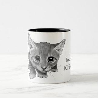 I Love Kitties: Cute Pencil Drawing: Big-Eyed Cat Mug