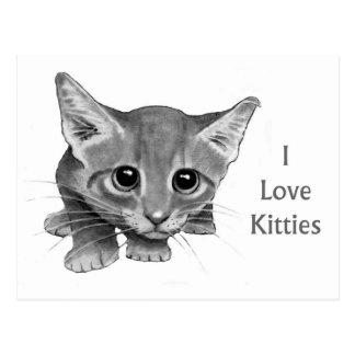 I Love Kitties: Cute Pencil Drawing: Big-Eyed Cat Postcard