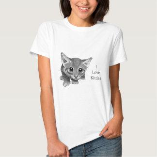 I Love Kitties: Cute Pencil Drawing: Big-Eyed Cat Shirts
