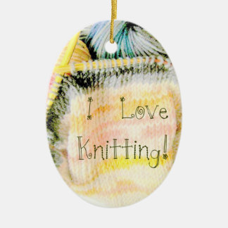 I Love Knitting Awesome Design Yarn Needles Christmas Ornament