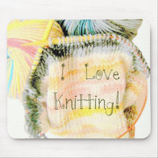 I Love Knitting Awesome Design Yarn Needles Mouse Pads