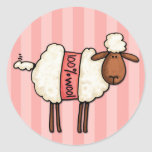 i love knitting classic round sticker