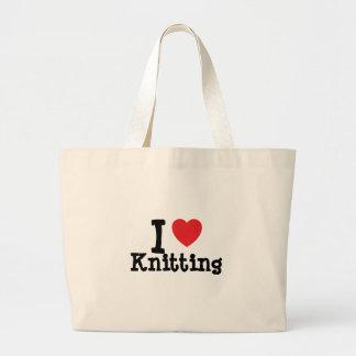 I love Knitting heart custom personalized Jumbo Tote Bag