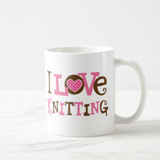I Love Knitting (Knitter Gift) Basic White Mug