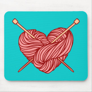 I Love Knitting Mouse Pad