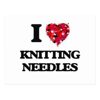 I Love Knitting Needles Postcard