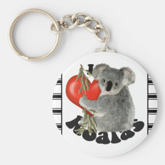 I Love Koalas Basic Round Button Key Ring