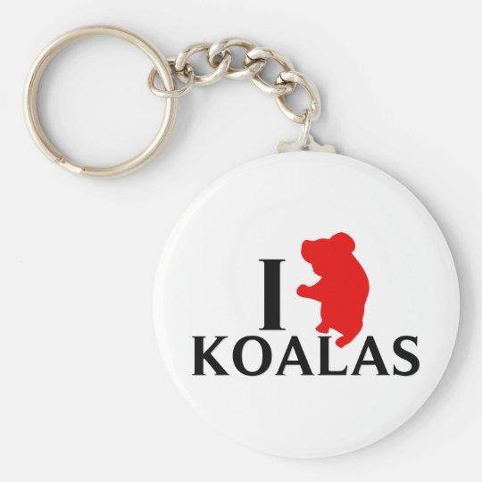 I Love Koalas Basic Round Button Key Ring