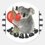I Love Koalas Round Sticker