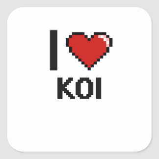 I love Koi Digital Design Square Sticker