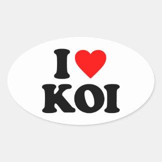I LOVE KOI OVAL STICKER