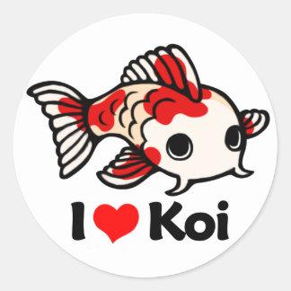 I Love Koi Round Sticker