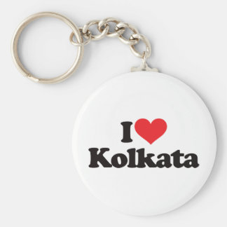 I Love Kolkata Basic Round Button Key Ring