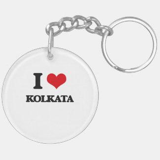 I love Kolkata Double-Sided Round Acrylic Key Ring