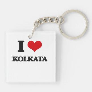 I love Kolkata Double-Sided Square Acrylic Key Ring