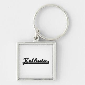 I love Kolkata India Classic Design Silver-Colored Square Key Ring