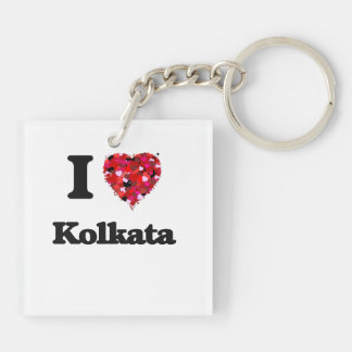 I love Kolkata India Double-Sided Square Acrylic Key Ring