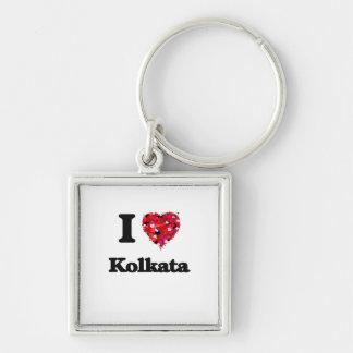 I love Kolkata India Silver-Colored Square Key Ring