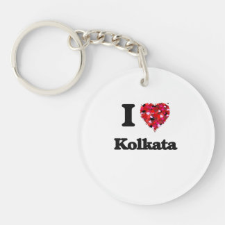I love Kolkata India Single-Sided Round Acrylic Key Ring