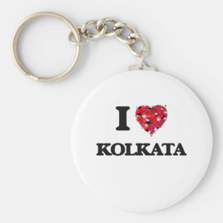 I love Kolkata India Basic Round Button Key Ring